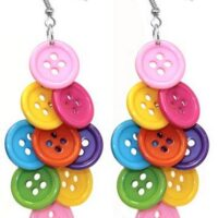 Colourful Button Drop Earrings