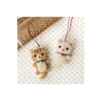 Hamanaka Needle Felting Kit - White Cat & Tabby Cat Charms