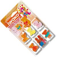 Iwako Eraser Set - Bears, Rabbits and Puppies Blister Pack