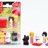 Iwako Eraser Set - Kokeshi Dolls & Lucky Cats Blister Pack