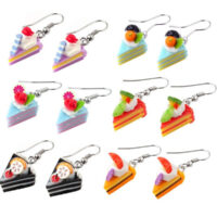 kawaii Cake Slice Drop Earrings
