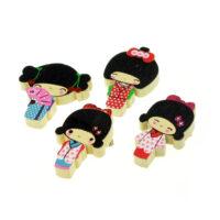 Kawaii Geisha Wooden Pin Badge