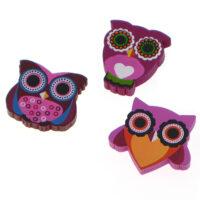 Kawaii Owl Wooden Pin Badge