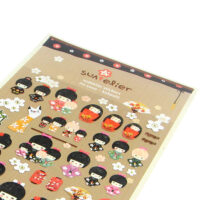 Kokeshi Girl Paper Stickers