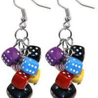 Multi coloured Dice Drop Earrings