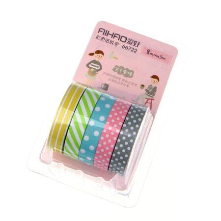 polka_dots_&_stripes_slim_washi_tape_ 5pc_set