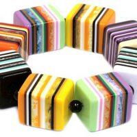 Chunky Stripe Cube Braclet