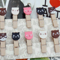 Wooden Kawaii Cat Mini pegs